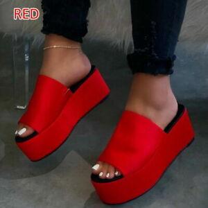 Fashion Womens Summer Open Toe Comfortable Bottom PU Leather Platform Slippers