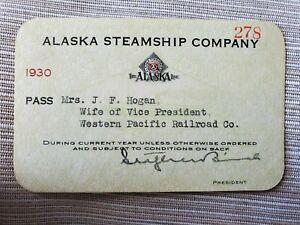 Vintage 1930 Alaska Steamship Company Pass