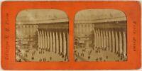 Francia Parigi La Bourse c1875 Foto Stereo Vintage Diorama Albumina