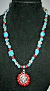 Handmade Necklace Turquoise Howlite Coral Beaded Sunburst Swirl Necklace Jewelry