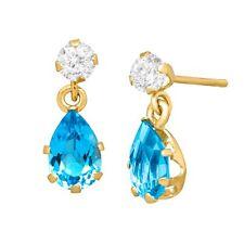 1 1/5 Ct Natural Swiss Blue & White Topaz Drop Earrings in 10k Gold