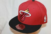Miami Heat Hat Cap XL Logo Black Visor Red Top by Mitchell & Ness NBA Caps