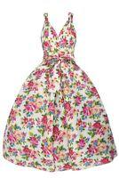 Ladies 1950's Mid Tie Retro Vintage Spring Floral Rose Retro Swing Party Dress