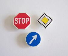 PLAYMOBIL (Q1265) CHANTIER - Lot F de 3 Panneaux de Signalisation Vintage