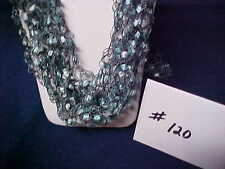 Handmade Crocheted Ladder Trellis Ribbon Necklace -  #120 - AquaMarine