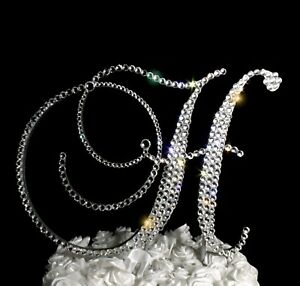 "Handmade Clear Crystals 5""   Monogram Letter ""H"" Wedding Cake Topper"