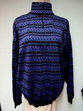 Vtg Demetre Wool Blend Mens Ski Sweater Black Red Purple Blue Hong Kong L Euc