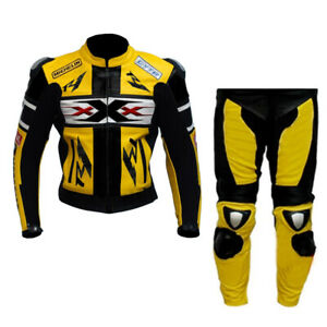 XXX Racing Motorbike Leather Suit Mens Motorcycle Leather Biker Jacket Trouser