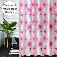 Bathroom Shower Curtain Fabric Heart Printed Waterproof Bath Curtains Set Opaque