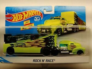 """2018 HOT WHEELS """"ROCK N' RACE""""~CAR AND TRUCK WITH DETACHABLE TRAILER ~ NEW"""