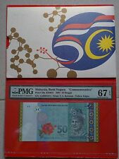 M'SIA RM50 AA 3 ZERO 0004477 GOLD LINE 50TH MERDEKA WITH FOLDER PMG67 EPQ UNC