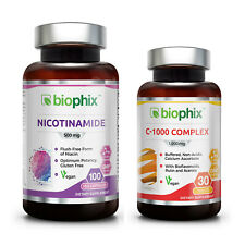 Biophix Nicotinamide 500 mg 100 Vcaps with Free Vitamin C-1000 30 Tablets