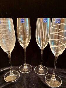 "Set of 4 Mikasa Cheers Champagne Flutes: Polka Dots, Ribbon, Stripes, 10"""