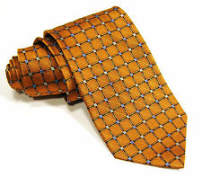Men's Jos. A. Bank Orange w/ Blue & Silver Silk Checks Tie Classic Necktie