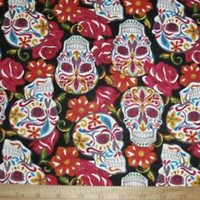 David Textiles CALAVERAS Fabric FESTIVE SUGAR SKULLS  DAY OF THE DEAD Cotton NEW
