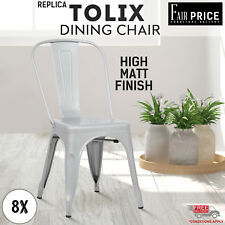 8 x Replica NEW Tolix Dining Chair Xavier Metal Steel Home Cafe/Pub,Silver Color
