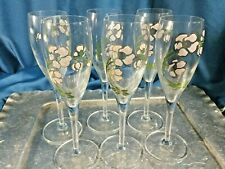 """SET/ 6 PERRIER JOUET 7.5"""" Champagne Flutes Handpainted Glass Anemone Pink Flower"""