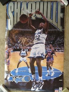 """SHAQUILLE O'NEAL Shaq Orlando Magic Poster 23"""" x 35"""" Signed AUTOGRAPHED 1993"""