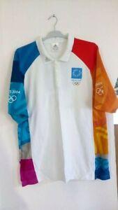 AUTHENTIC OLYMPIC VOLUNTEERS SHIRT ATHENS 2004 ADIDAS MEDIUM GREECE GREEK
