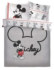Disney Mickey Mouse 'Jersey' Panel Double Bed Duvet Quilt Cover Set Brand New