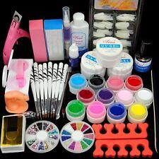 Set 12 Couleur UV Gel Faux Ongle Acrylique Strass Manucure Pédicure Nail Art Kit