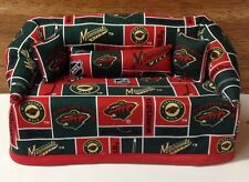 Minnesota Wild Hockey Sofa Couch Tissue Box Cover With Little Pillows