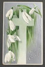 Easter Cross w/ Beautiful Snowdrops Silver Background embossed postcard