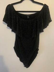New Look Ruffled Off Shoulder Glitter Body Jumpsuit Size 16 Stretch Black