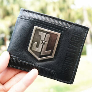 Justice League Embed 3D Touch PU Wallet Bi-fold ID Holder Purse zipper coin bag