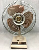 "Vintage Galaxy 12"" 3-Speed Oscillating Fan Cream & Brown 12-1 K1-CR Table"