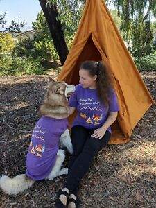 Matching Dog and Owner Camping Shirts, Purple & Black, Perfect Dog Lover Gift