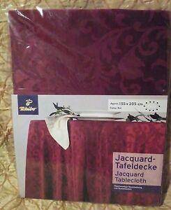 Burgundy Jacquard Oval Tablecloth