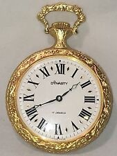 Vintage Dynasty 17 Jewels Mechanical Windup Gold Tone Pocket Watch.(A-67)