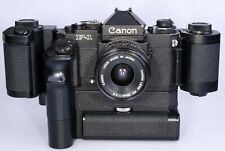 Canon F1 with AE Motor-drive FN, Film-back FN-100 and 28mm FD lens.