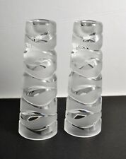 Pair Of JG Durand Contemporary Modern Crystal Candle Or Vase Set With Stickers.