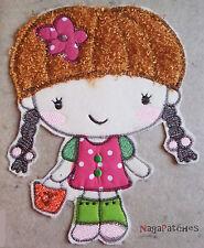 Pièce de tissus brodée thermocollante patche hotfix - LITTLE GIRL -  DIY custom