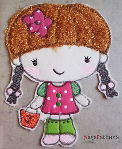 Piece Of Fabrics Embroidered Fusible Patch Hotfix - Little Girl - DIY Custom