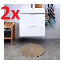 2x IKEA BADAREN Non-slip Microfibre Bathroom Round Bath Mat Bathmat 55cm Beige