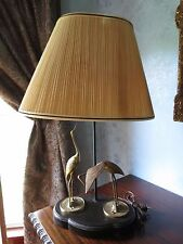 VINTAGE BRASS CRANES TABLE LAMP WITH ORIGINAL FINIAL LAMP SHADE