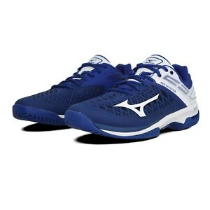 Mizuno Mens Wave Exceed Tour 4 AC Tennis Shoes - Blue White Sports Breathable