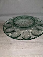 Blue Green Pressed Glass Deviled Egg Plate
