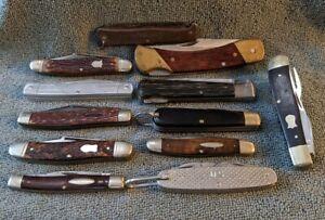 Vintage Pocket Knife Collection Lot Case Robeson Schrade Camillus G C co Boker