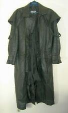 FMC Black Leather Trench Coat Duster Removable Cape Mens Large Cowboy Biker NM