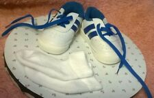 LIT'L BITS - SIZE 1 - WHITE/BLUE VINYL SPORTS STYLE LACE ON BABY/TODDLER SHOES
