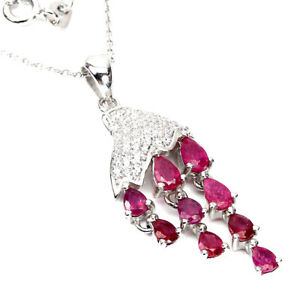 Pear Red Ruby 5x3mm Cz 14K White Gold Plate 925 Sterling Silver Necklace 18 Ins