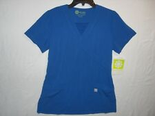 Marvella by White Cross Womens Solid Royal Blue Mock Wrap Scrub Top Size XS