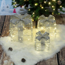 Light Up Gift Boxes Presents Set of 3 Christmas Glitter LED Indoor Decoration UK