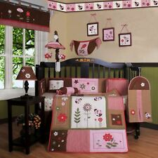 Pink Brown Ladybug 13 pcs Crib Bedding Set Baby Girl Nursery Quilt Bumper Diaper