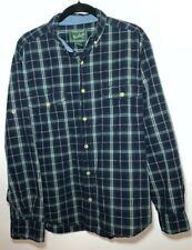 WOOLRICH Mens 100% Cotton Flannel SHIRT Long Sleeve Blue PLAID M EUC?