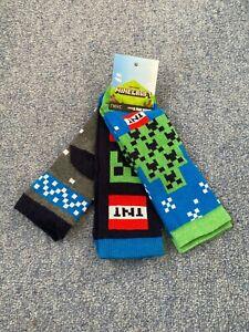 Next MINECRAFT 3 Pack of Multicoloured Boys Socks Size 6-8.5 NEW